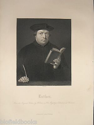 Antiquarian Engraving of Portrait of Martin Luther c1870 Protestant/Religion