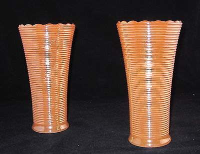 """Set of 2 Iridescent Gold Peach Lustre on White Glass Ribbed Vases 7"""" Tall"""