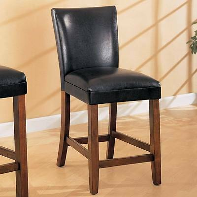 Black Faux Leather Counter Height Dining Chair by Coaster 100357 - Set of 2