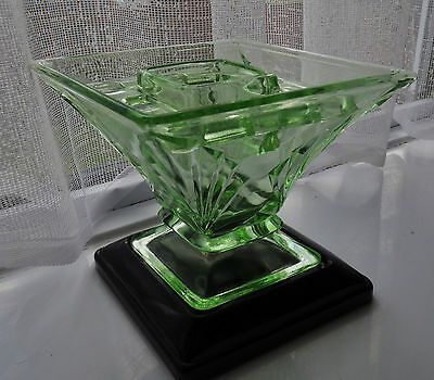 Bagley Green Glass Vase with Frog and Stand