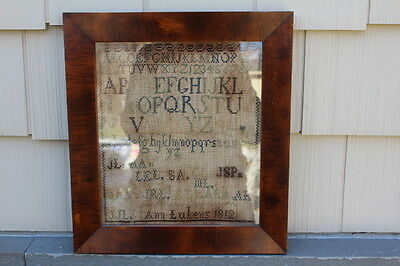 "Antique Needlework Ann Lukens Alphabet Sampler c. 1812 Framed 13.5"" x 15"""