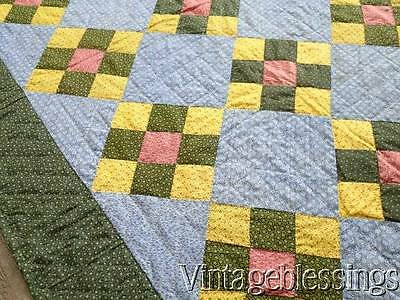 """Fantastic! c1880 Lancaster Blue Yellow Double Pink PA QUILT  78x77""""Never used"""