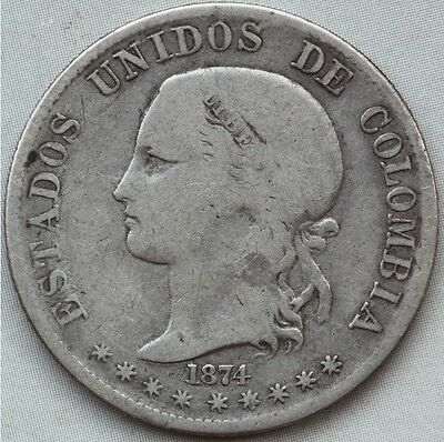 Colombia. 2 Decimos 1874. One year type