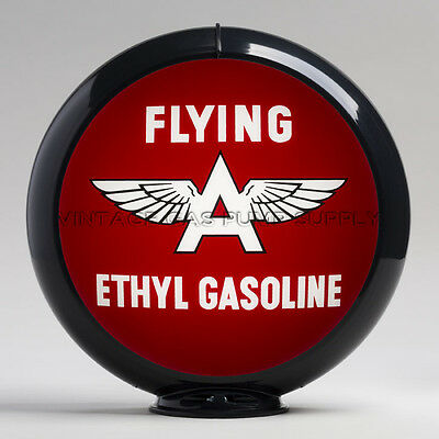 "Flying A Ethyl 13.5"" Gas Pump Globe w/ Black Plastic Body (G128)"