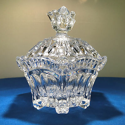 Large Vintage Crystal Sugar Bowl With Lid