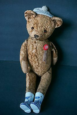 Antique Jointed Straw Stuffed Teddy Bear Hump Back