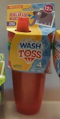 NEW Nuby Wash or Toss Stackable Sippy Cups Flow Free BPA Free Total of 4 Cups