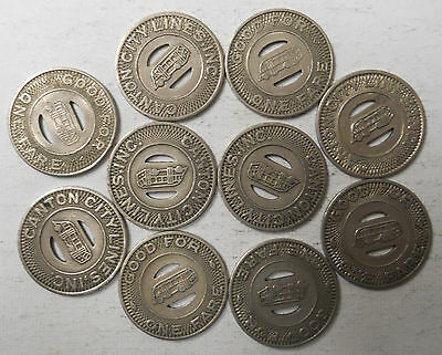 Lot of 10 Canton City Lines (Ohio) transit tokens - OH125M