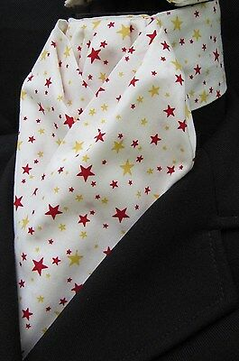 Ready Tied Cream,Gold & Red Stars Cotton Riding Stock Dressage Hunting show