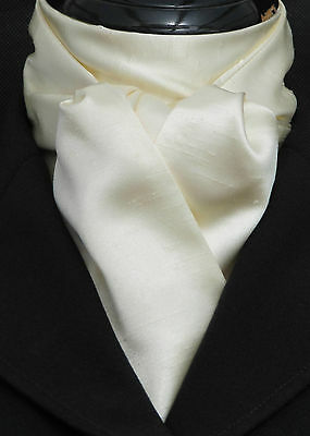 Self Tie Cream Faux Silk Satin Dressage Riding Stock - Show Hunting Eventing