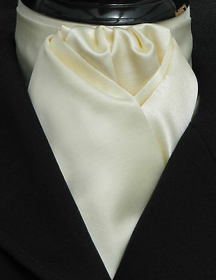 Ready Tied Cream Faux Silk Satin Dressage Riding Stock - Show Hunting Eventing