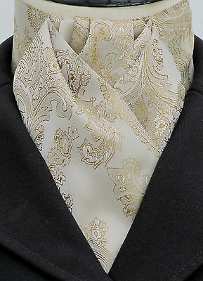 Ready Tied Tan & Gold Paisley Satin Riding Stock -Dressage Show Eventing Hunting