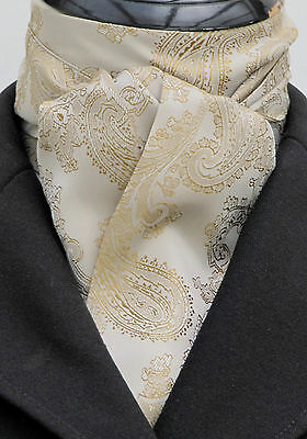 Self Tie Tan & Gold Paisley Satin Riding Stock - Dressage Hunting  Show Eventing