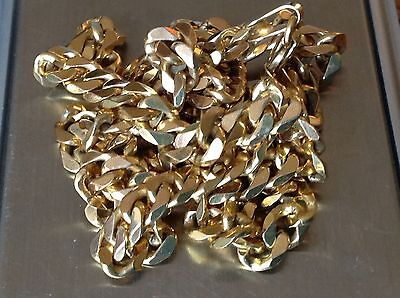 WOW BEAUTIFUL HEAVY 28.58g  9ct GOLD FLAT CURB LINK CHAIN  EXCELCOND