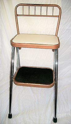 VINTAGE Retro Folding Padded Kitchen Chair Step Stool Stepping Painters Ladder