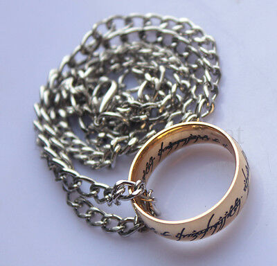LOTR Lord Of Rings One Ring To Rule Them All Gold Plated Ring Necklace Hobbit