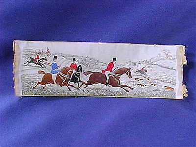 """Antique Stevengraph Victorian English Fox Hunt """"Full Cry"""" silk woven picture"""