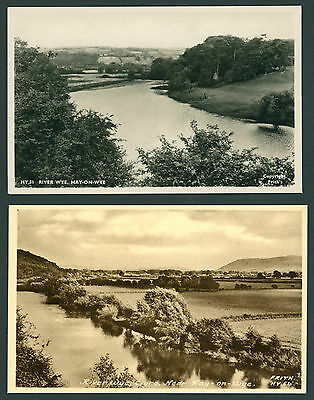 3 cards of the River Wye near Clyro & Hay on Wye. BRECONSHIRE
