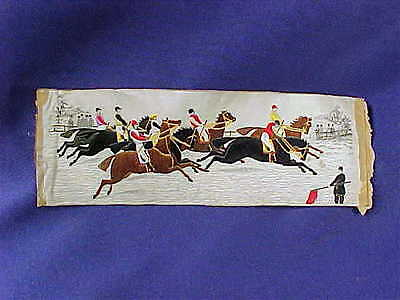 """Antique Stevengraph Victorian Horse Racing """"The Start"""" silk woven picture"""