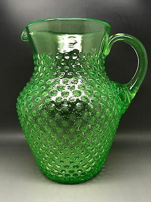 Bright Green Hobnail Glass Jug - 20 Cm Tall