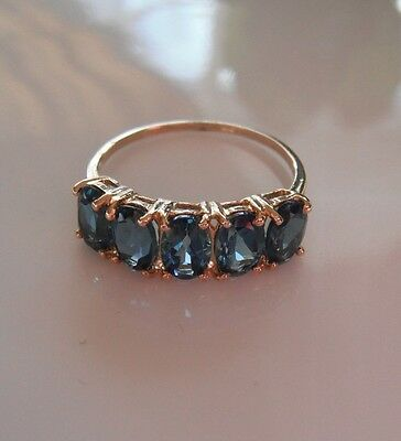 Exclusive 2.70 Ct. London Blue Topaz Ring 10K Solid Yellow Gold Size 7