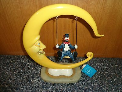 "Ron Lee Signed 1998 308/950 Clown on Swing Swinging From Moon 12"" X 11"" Figurine"