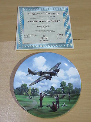Royal Doulton Heroes Of The Sky Boxed Plate - Blenheim Above The Airfield 3642A