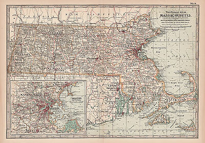 Original 1897 Map of Massachusetts by The Century Co,