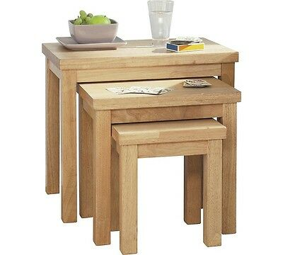 Gloucester Nest of 3 Solid Wood Side Coffee Tables Natural Wood *Slight Scratch*