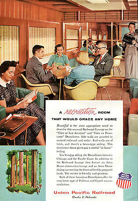 Union Pacific Railroad Ad Redwood Lounge Chairs Pullman Train Domeliner Cards