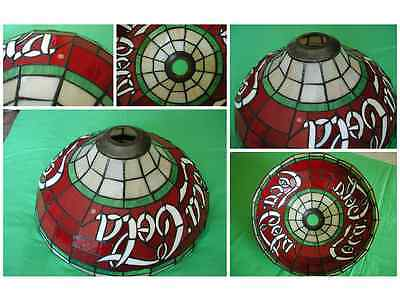 VINTAGE COCA COLA STAINED GLASS Tiffany Style Light Cover Shade Trade Marked (R)