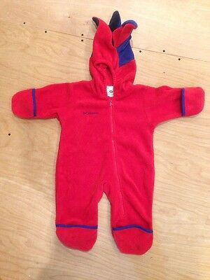 Columbia Fleece One Piece With Hood Snowsuit Size 12 Months Red