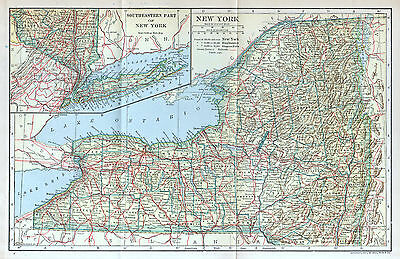 NEW YORK State Map Antique Original 1907 Dodd Mead Detailed Wall Decor