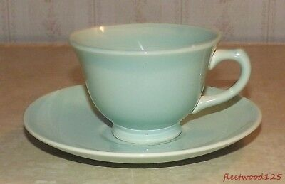 Taylor Smith & Taylor TST Luray Pastel Green Coffee Tea Cup and Saucer