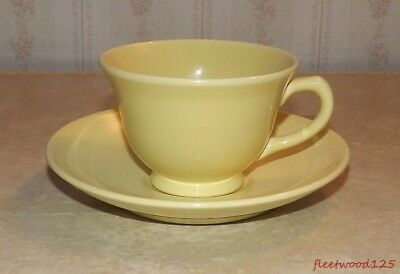 Taylor Smith & Taylor TST Luray Pastel Yellow Coffee Tea Cup and Saucer