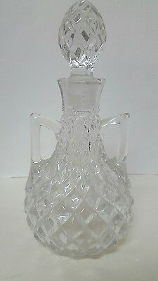 VINTAGE CRYSTAL CUT GLASS DECANTER w/stopper