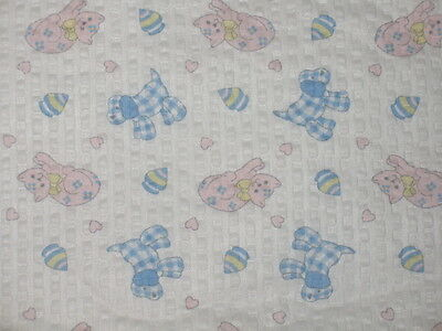 1 of 8 YDS~VTG NOVELTY COTTON SEERSUCKER NURSERY FABRIC~BABY ANIMAL~KITTEN~PUPPY