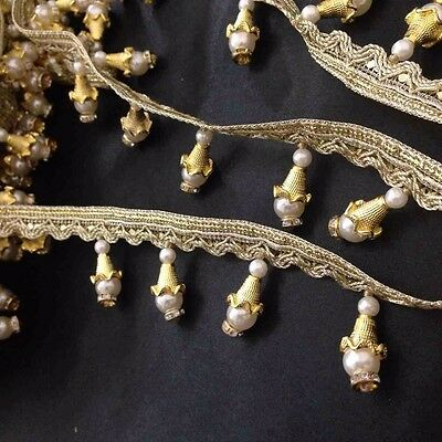 Pearl Gold beaded trimming fringe Lace Edging Ribbon Wedding Applique1YardX 40mm