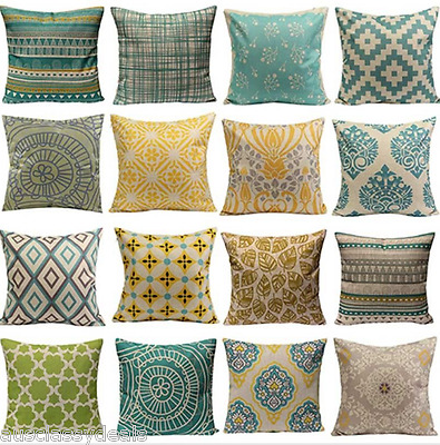 Hot Vintage Cushion Cover Home Sofa Decor Linen Pillow Case Geometric Flower Boh