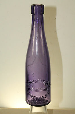 Vintage Gas & Oil Service Station I. Rokeach & Sons Oil Refinery Glass Bottle