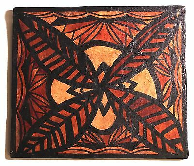 Vintage Original Hand Painted Signed Tribal Abstract Painting on Wood