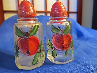 """Vintage Hand Painted Glass Salt And Pepper Shakers Red Top 3 And 1/4"""" Tall"""