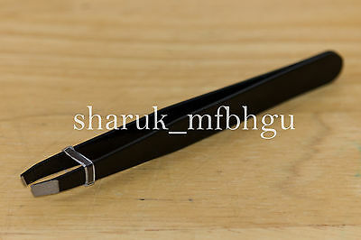 Professional Tweezers Eyebrow Slanted Black Tweezer Stainless Steel Hair Beauty