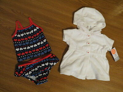New Carters Baby Toddler Girls 2 Piece Swimsuit & Coverup 3M, 6M, 9M, 12M, 24M