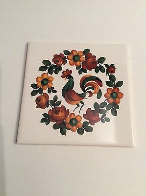 VINTAGE TRIVET CERAMIC Accent Tile Hand Painted Rooster X - 6x6 accent tiles