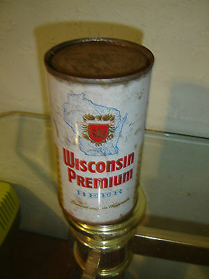 Rare  Blue Map Wisconsin Premium Bottom Opened  Flat Top Beer Can