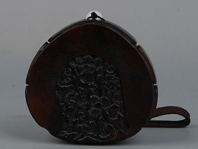 Exquisite Chinese ox Horns Hand - carved People story Pendant
