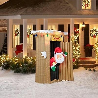 Animated Led Lighted   Outhouse Santa Christmas  Inflatable 6Ft Outdoor Yard