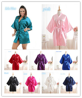 *New Women Silk Satin Robes  Wedding Bridesmaid Bride Gown kimono robe*