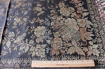 """Antique c1910 Chinoiserie & Bird Piano, Bed Or Sofa Throw~1yd12""""LX49""""W"""